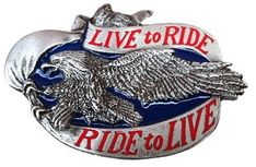 LIVE TO RIDE Motorcycle Flying Eagle Belt Buckles