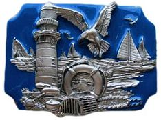 Lobster Fishing Fisherman Seagull Old Lighthouse Buckle