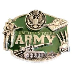 MILITARY GREEN USA UNITED STATES ARMY SOLDIER BELT BUCKLE BOUCLE DE CEINTURE