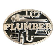 PLUMBER PIPE WRENCH PIPES TOOLS OCCUPATIONAL BELT BUCKLE BUCKLES