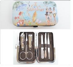 6pcs Manicure Pedicure Set Stainless Nail Clippers Kit Cuticle Grooming Case