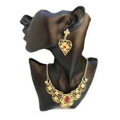 Portuguese Style Gold Toned Red Stone Heart Shape Necklace Earrings Set