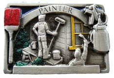 PAINTER PAINTING BRUSH TOOLS 3D PEWTER BELT BUCKLE
