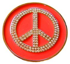 PEACE LOVE SYMBOL SIGN HIPPIE HIPPY RED BELT BUCKLE
