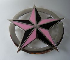 Pink And Black Nautical Star Western Belt Buckle Belts Buckles