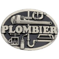 PLOMBIER PLOMBERIE FRENCH PLUMBER TOOLS OCCUPATION TRADES & PROFESSIONS BELT BUCKLES - BOUCLES DE CEINTURE
