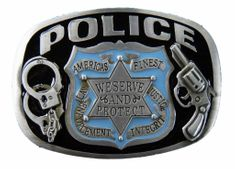 POLICE OFFICE BADGE GUNS HANDCUFF SERVE AND PROTECT AMERICAS FINEST BELT BUCKLE