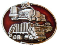 RECYCLE RECYCLING DUMP GARBAGE TRUCK TOOL BELT BUCKLE BUCKLES