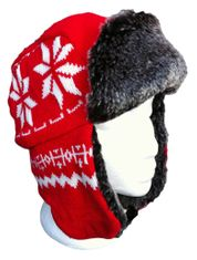 RED SNOWFLAKES WINTER SKI TUQUE BOMBER HAT CHAPEAU HIVER ROUGE NEIGE