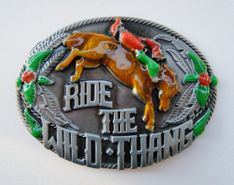 """RIDE THE WILD THANG """"THING"""" SLANG WORDS RODEO HORSES COWGIRLS COWBOYS WESTERN BELT BUCKLES"""