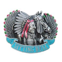 SITTING BULL INDIAN CHIEF NATIVE AMERICAN FEATHERS HEADDRESS HORSE BELT BUCKLES
