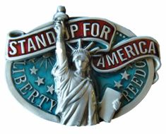 STATUE OF LIBERTY FREEDOM STAND UP FOR AMERICA COOL BELT BUCKLE BELTS BUCKLES