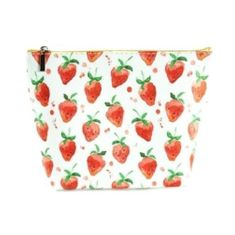 Strawberries Large Cosmetic Make Up Travel Purse Organizer Pouch Case Clutch