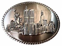 TWIN TOWERS NEW YORK CITY NY STATUE LIBERTY BELT BUCKLE