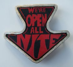 WE'RE OPEN ALL NITE ARROW SEXUAL SEX POINTING FUNNY HUMOR BELT BUCKLES