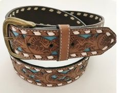 Western Belt Women's Turquoise Inlay Brown Snap-on Belts