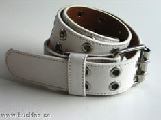 WHITE SEXY DOUBLE HOLE GOTH PUNK BELT REMOVABLE BUCKLE Size 30-36