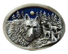 WOLF WILD ANIMAL FULL MOON PEWTER BELT BUCKLE WOLVES ANIMALS BELTS & BUCKLES