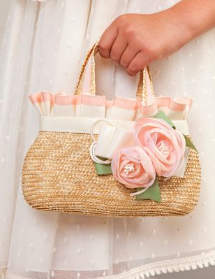 Abel & Lula Girls Basket Purse with Flowers - Salmon Pink