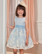Abel & Lula Girls Floral Embroidered Organza Dress - Light Blue