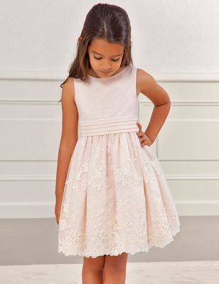 Abel & Lula Girls Floral Embroidered Organza Dress - Salmon Pink