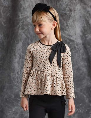Abel & Lula Girls Heart Leopard Print Ruffle Top with Bow