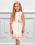 Abel & Lula Girls Ivory Lace Dress with Salmon Pink Flower Sash