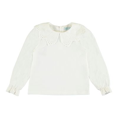 Abel & Lula Girls Off White Embroidered Collar Blouse
