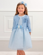 Abel & Lula Girls Tricot Cardigan Sweater - Blue - Sweater Only - Dress NOT Included
