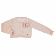 Abel & Lula Girls Tricot Cardigan Sweater - Salmon Pink