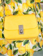 Abel & Lula Girls Yellow Leatherette Purse with Chain Strap