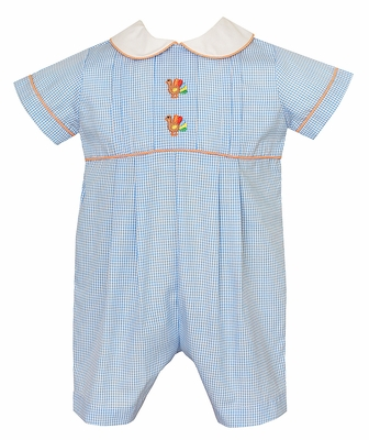 Anavini Baby Boys Blue Check Embroidery Turkeys Short Romper