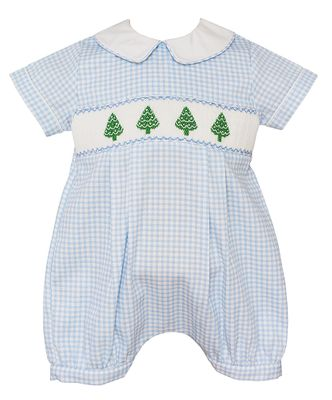 Anavini Baby Boys Blue Check Smocked Christmas Trees Bubble