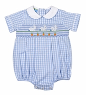 Anavini Baby Boys Blue Check Smocked Easter Bunnies Bubble