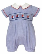 Anavini Baby Boys Blue Check Smocked Sailboats Bubble