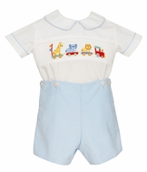 Anavini Baby Boys Blue Corduroy Smocked Toy Animal Train Button On Outfit