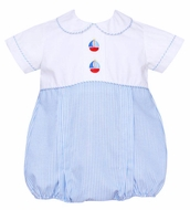 Anavini Baby Boys Blue Stripe Sailboats Bubble