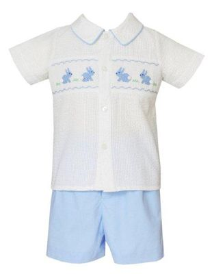 Anavini Baby / Toddler Boys Blue Stripe Smocked Easter Bunny Short Set