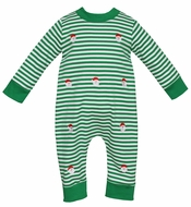 Anavini Baby Boys Green Stripe Knit Romper - Embroidery Santa Claus