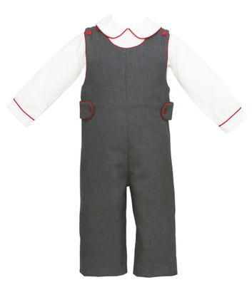 Anavini Baby Boys Grey Longall with Shirt - Red Trim