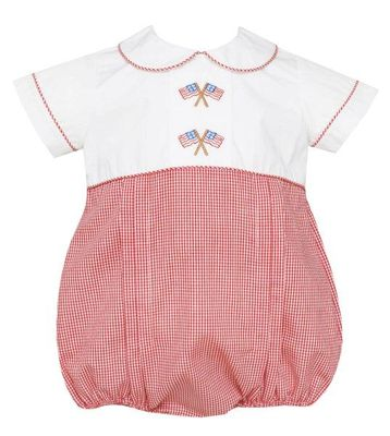 Anavini Baby Boys Red Check Patriotic Flags Bubble