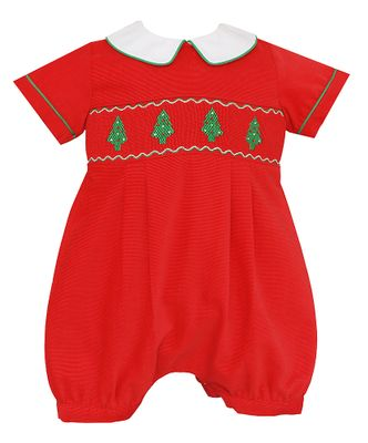 Anavini Baby Boys Red Corduroy Smocked Christmas Trees Bubble
