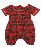 Anavini Baby Boys Red / Green Holiday Plaid Smocked Bubble with Collar