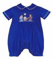 Anavini Baby Boys Royal Blue Corduroy Smocked Nativity Scene Bubble
