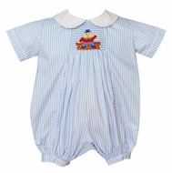 Anavini Baby Boys Royal Blue Stripe Smocked Humpty Dumpty Bubble