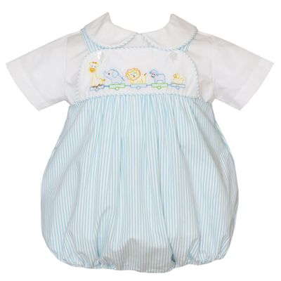 Anavini Baby Boys Turquoise Blue Seersucker Shadow Stitch Embroidery Toy Animal Parade Bubble with Shirt