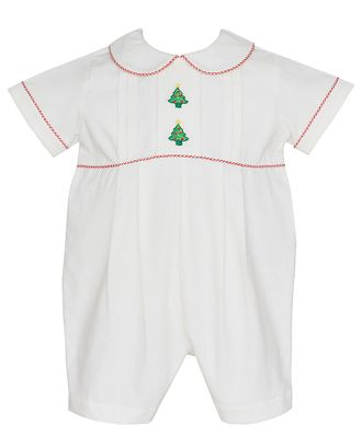 Anavini Baby Boys Winter White Corduroy Christmas Trees Romper
