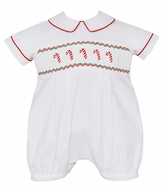 Anavini Baby Boys Winter White Corduroy Smocked Candy Canes Bubble