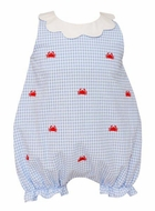 Anavini Baby Girls Blue Gingham Seersucker Embroidered Crabs Bubble