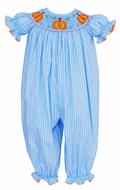 Anavini Baby Girls Blue Plaid Smocked Orange Pumpkins Romper